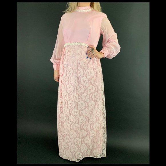 Vintage Dresses & Skirts - 60s/70s Pink Lace Maxi Dress